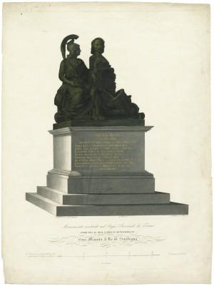 Regio Arsenale, Monumento a Pietro Micca, litografia 1839. © Archivio Storico della Città di Torino