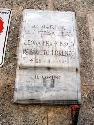 Lapide dedicata a Leona Francesco  e Rossotto Lorenzo