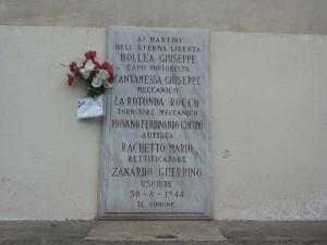 Lapide dedicata a Bollea Domenico Giuseppe, Piovano Giacomo Ferdinando, La Rotonda Rocco, Cantamessa Giuseppe, Rachetto Mario, Zanardo Guerrino