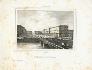 Piazza e ponte Vittorio Emanuele. Litografia dei F.lli Doyen su disegno di E. Gonin, 1835. © Archivio Storico della Città di Torino