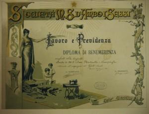 Diploma di merito conferito dalla Società d Mutuo Soccorso d'ambi i sessi «Lavoro e Previdenza» nel 1893.