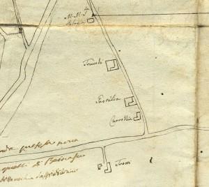 Cascina Tre Tetti Nigra.  Planimetria dei territori tra Torino e Beinasco, 1740-1742, © Archivio Storico della Città di Torino
