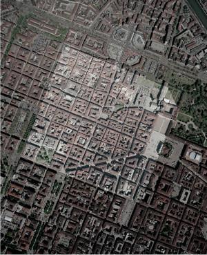 Veduta aerea del centro di Torino; l'area evidenziata è quella racchiusa nelle mura romane, © Soprintendenza per i Beni Archeologici del Piemonte e del Museo Antichità Egizie.