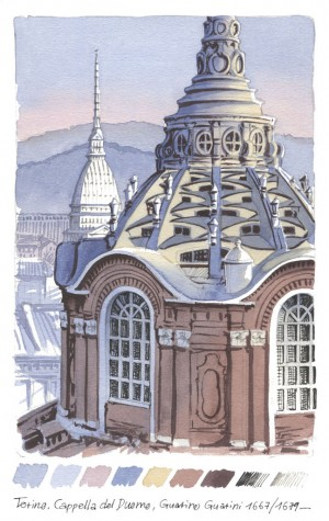 Lorenzo Dotti, Torino, Cappella del Duomo, Guarino Guarini 1667/1679, 25 gennaio 2020, acquerello