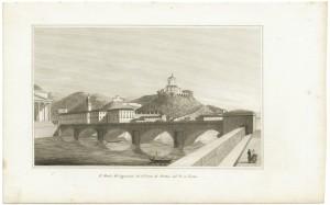 Ponte Vittorio Emanuele I e Monte dei Cappuccini, litografia. © Archivio Storico della Città di Torino