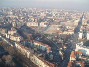 Veduta dalla mongolfiera in Borgo Dora. Fotografia di Maria Paola Soffiantino, 21 dicembre 2012