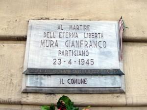 Lapide dedicata a Gianfranco Mura (1924 - 1945)