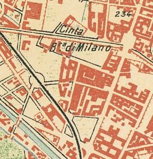 Cascina Verna nel quartiere Aurora. Istituto Geografico Militare, Pianta di Torino e dintorni, 1911. © Archivio Storico della Città di Torino