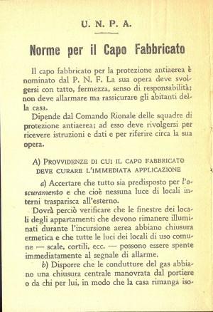 Unione Nazionale Protezione Antiaerea. Norme per il capo fabbricato, pagina 2 di 8. ASCT, Miscellanea sicurezza pubblica 58. © Archivio Storico della Città di Torino
