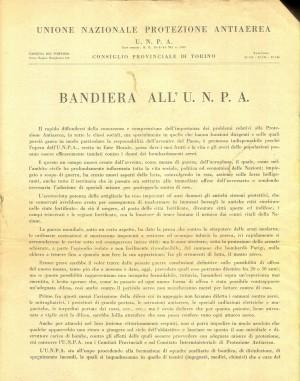 Unione Nazionale protezione Antiaerea. Bandiera dell'UNPA, pagina 1 di 2. ASCT, Miscellanea sicurezza pubblica 58. © Archivio Storico della Città di Torino