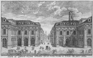 Giovanni Battista Borra, Veduta dei Quartieri Militari, 1749.ASCT, Collezione Simeom. © Archivio Storico della Città di Torino