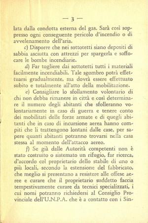 Unione Nazionale Protezione Antiaerea. Norme per il capo fabbricato, pagina 3 di 8. ASCT, Miscellanea sicurezza pubblica 58. © Archivio Storico della Città di Torino