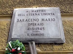 Lapide dedicata a Mario Saraceno (1920 - 1945)