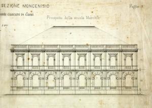 Progetto di costruzione dell'edificio maschile della scuola elementare Moncenisio, una delle prime espressioni dell'edilizia scolastica torinese. © Archivio Storico della Città di Torino