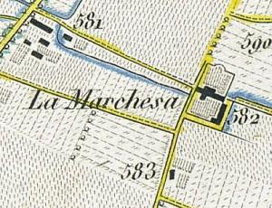 Cascina Piscina, già Marchesa. Antonio Rabbini, Topografia della Città e Territorio di Torino, 1840, © Archivio Storico della Città di Torino