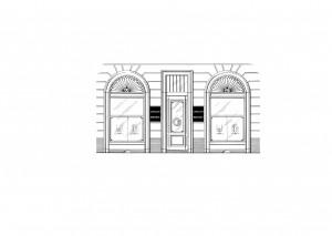 Cepollini Marchesa di F.lli Sestini, Argenti e preziosi. Facciata del negozio stilizzata