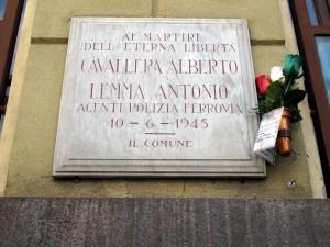 Lapide dedicata ad Alberto Cavallera e Antonio Lemma