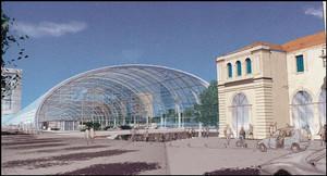 Il progetto del Nuovo Fabbricato Viaggiatori, vista esterna; sullo sfondo, a sinistra, il grattacielo progettato nel medesimo ambito e non ancora realizzato. © AREP, Silvio D'Ascia, Studio Magnaghi