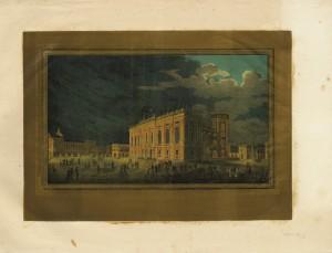 Illuminazione di Palazzo Madama in occasione delle feste per il matrimonio tra Vittorio Emanuele e Maria Adelaide, aprile 1842. © Archivio Storico della Città di Torino.