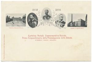 Cartolina per il primo cinquantenario della promulgazione dello Statuto Albertino, 1848-1898. © Archivio Storico della Città di Torino.
