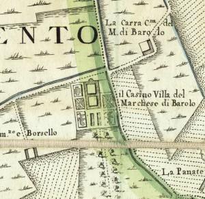 Cascina Barolo. Amedeo Grossi, Carta Corografica dimostrativa del territorio della Città di Torino, 1791. © Archivio Storico della Città di Torino