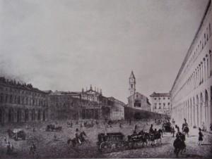 Piazza San Carlo. Litografia di D. Festa, 1834. © Archivio Storico della Città di Torino