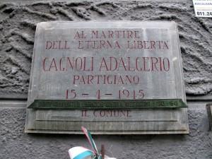 Lapide dedicata a Cagnoli Adalgerio (1919 - 1945)