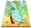 Ricostruzione dell'area di massima espansione del ghiacciaio della Val di Susa durante il Pleistocene superiore e di una sua successiva fase di ritiro (1). Fotografia di Paolo Baggio et al., 2003.