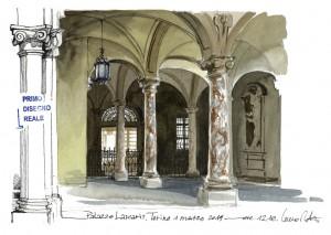 Lorenzo Dotti, Torino. Palazzo Lascaris, 1 marzo 2019, acquerello