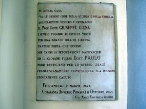 Lapide dedicata a Diena David Giuseppe e Diena Paolo