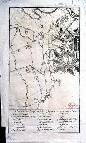Pianta della cittadella con le posizioni degli assedianti nel 1706 (1730 circa)