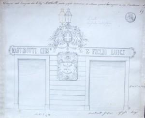 Vetrina della ditta Martinotti, progetto, XIX secolo © Archivio Storico della Città di Torino (Tipi e Disegni 94-1-088)