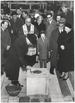 Posa della prima pietra del nuovo edificio della Biblioteca civica, 11 gennaio 1958. Biblioteca civica Centrale © Biblioteche civiche torinesi