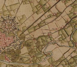 «Carta delle R. Cacce», databile tra il 1741 e il 1744, particolare in cui il «Martinetto» compare già collocato approssimativamente in corrispondenza della parte terminale dell'attuale via San Donato. ©Archivio di Stato di Torino.