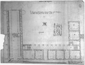 Progetto di sistemazione del cortile sud-orientale, ca. 1738. Archivio di Stato di Torino, Ministero della Guerra.© Archivio di Stato di Torino