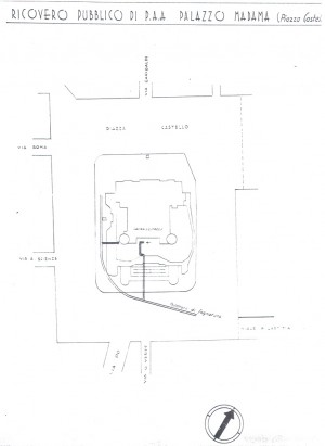 Planimetria del ricovero pubblico Palazzo Madama, scala 1:1500. ASCT, Miscellanea sicurezza pubblica 58. © Archivio Storico della Città di Torino