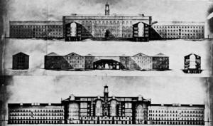Sezioni trasversali sul cortile interno, sul corpo d'ingresso e lungo l'asse maggiore, 1861. © Archivio Storico della Città di Torino