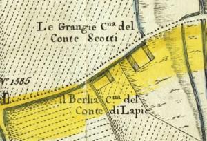 Cascina Grangia Scott. Amedeo Grossi, Carta Corografica dimostrativa del territorio della Città di Torino, 1791, © Archivio Storico della Città di Torino