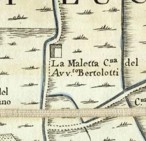 Cascina Maletta. Amedeo Grossi, Carta Corografica dimostrativa del territorio della Città di Torino, 1791. © Archivio Storico della Città di Torino