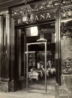 Pasticceria Romana Succ. Bass, particolare esterno, 1918-20, in L'Architettura Italiana, n. 6, giugno 1920