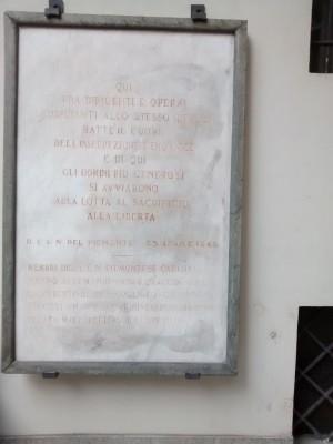 Lapide dedicata ai membri del C.L.N. caduti