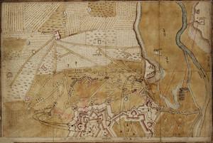 Pianta di Torino, disegno riproducente probabilmente l'assedio del 1706, in cui compare l'indicazione della Valdoc. © Archivio di Stato di Torino
