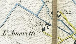 Cascina Martiniana. Antonio Rabbini , Topografia della Città e Territorio di Torino, 1840, © Archivio Storico della Città di Torino