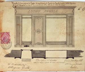 Progetto della devanture per il negozio di acconciature della signora Angela Luino, 12 marzo 1885, in ASCT, TD 94.7.19, Fotografia di Marco Corongi, 2005 © Politecnico di Torino