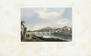 Veduta del Ponte Vittorio Emanuele I. Litografia Parigi, 1845. © Archivio Storico della Città di Torino