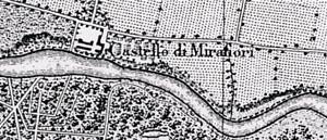 """Rappresentazione del castello di Mirafiori e del Sangone dopo il salto di meandro del 1810, nella carta """"Contorni di Torino"""", scala originale 1:25000. Stato Maggiore Sardo, 1854."""
