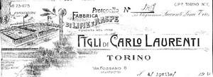 Logo su carta intestata della ditta Laurenti, 1943. Accanto all'indirizzo il toponimo con cui era conosciuta la zona: Martinetto. ©Archivio della Camera di Commercio di Torino.