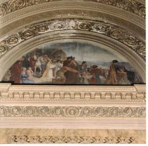 Andrea Gastaldi (1826-1889) e Giuseppe Camino (1818-1890), Episodio della guerra greco – gotica in cui Sant' Epifanio Vescovo di Pavia e San Vittore di Torino traggono in salvo uno stuolo di prigionieri piemontesi caduti in mano a Gundelbaldo re dei Borgognoni, 1852, affresco. Chiesa di San Massimo. Fotografia del 2001 prima del restauro.