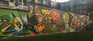 BOCS, ENCS, MR. BLOB, RESER, Ride e di Weed, murales senza titolo, 2016/2018, giardini Firpo, corso Dante