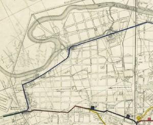 Particolare della planimetria dei Canali Municipali della Città di Torino, fine Ottocento.
